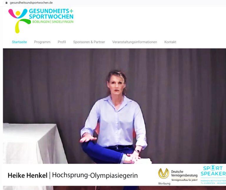 Heike Henkel virtuell aktiv auf Gesundheits- und Sportwochen Böblingen